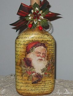 Santa Decoupage Bottle