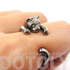 Adorable Kitty Cat Animal Pet Wrap Around Hug Ring in Gunmetal Silver - Size 3 to Size 8.5 - Thumbnail 1$11.50 #kittens #cats #animals #jewelry #rings
