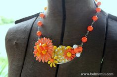 Orange Daisy Collage Statement Necklace Vintage by belmonili, $48.00