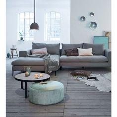 Ecksofa von IMPRESSIONEN living - Grau Klare Linien und weiche Polster in elegantem Grau: modernes Ecksofa, bestehend aus einem Zweisitzer (Sitzfläche ca. B 157 x...