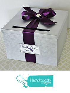Wedding Card Holder Box Silver and Plum Purple Customizable from Little Divine http://www.amazon.com/dp/B0166XSOB6/ref=hnd_sw_r_pi_dp_OMwRwb1WM5CTF #handmadeatamazon