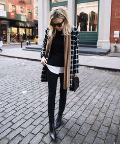 windowpane check coat, black sweater, tan scarf, back jeans + black booties