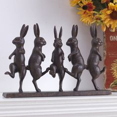 Highlight a forgotten nook in your home with this smile-provoking bunny statue! Featuring five whimsical rabbits doing the dance of happiness, this unique figurine will provide years of enjoyment! They'll go fast! Rabbit Sculpture, Some Bunny Loves You, Rabbit Art, Bunny Art, Garden Statues, Garden Art, Garden Ideas, Easter Bunny, Artsy