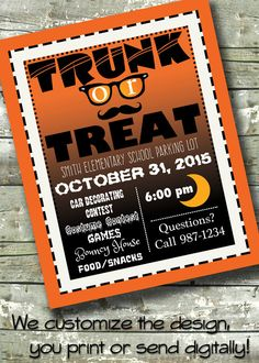 trunk or treat halloween party 5x7 invite 85x11 flyer 11x14 poster