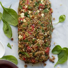 Lentil, Roasted Pepper, and Spinach Vegetable Loaf #myplate #vegetables #dairy #protein #grains