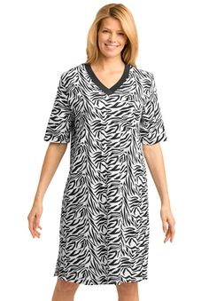 Plus Size Short knit printed sleepshirt