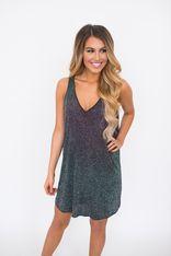 Black Glitter Cape Back Dress