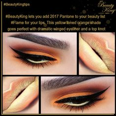 #BeautyKing lets you add 2017 Pantone to your beauty list #Flame for your lips. This yellow toned orange shade goes perfect with dramatic winged eyeliner and a top knot www.Beautyking.in