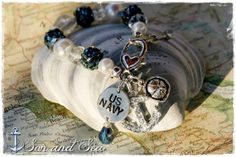 US Navy rhinestone anchor beaded charm bracelet by Son and Sea free US shipping