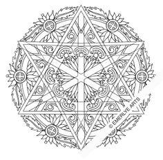 Cynthia Emerlye, Vermont artist and kirigami papercutter: Star of David Mandala - Adult Coloring Page