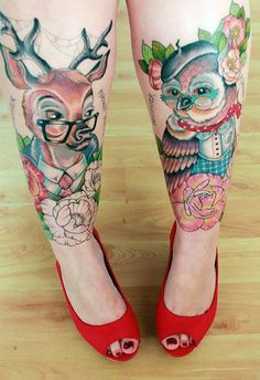 http://tattooideas247.com/deer-owl/ Deer & Owl Tattoo #Animal, #Deer, #Floral, #Flowers, #Leg, #Owl