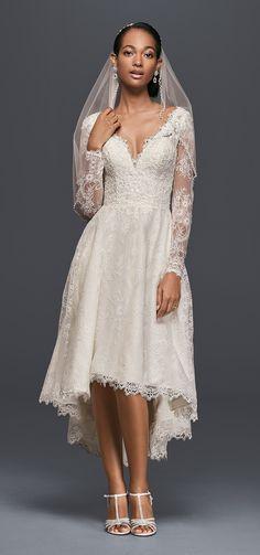 High-Low Chantilly Lace Wedding Dress   David's Bridal Spring 2017 @davidsbridal #davidsbridal #olegcassini #bridal #wedding #lace #highlow #weddingdress