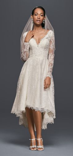 High-Low Chantilly Lace Wedding Dress | David's Bridal Spring 2017 @davidsbridal #davidsbridal #olegcassini #bridal #wedding #lace #highlow #weddingdress