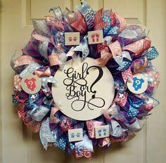 Gender Reveal Wreath Baby Wreath Baby by Texascaseyscreations