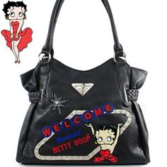 Click Here and Buy it on Amazon.com Price: $45.99 Amazon.com: Betty Boop Fashion Unique Betty Boop Character Embroidered Gemstones Rhinestone Studded Woven Drawstring Detailed Tote Satchel Shopper Handbag Purse in Black: Clothing