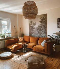 Burnt Orange couch for Living Room Living Room Sofa, Living Room Interior, Home Living Room, Apartment Living, Living Room Designs, Living Spaces, Cool Living Room Ideas, Interior Livingroom, Cozy Living