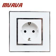 MVAVA Europe Shuko sockets Mirror crystal glass EU German Standard Wall power Socket electrical outlet AC 110~250V 16A