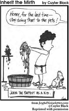 Cartoon of John the Baptist as a kid baptizing the pets