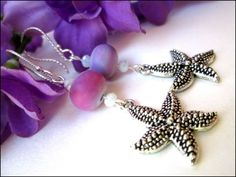 Silver Pewter Starfish Lavender Purple Sterling Silver Earrings | specialtivity - Jewelry on ArtFire