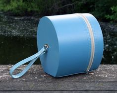 Small Round Turquoise Travel Case Suitcase Hatbox by MysticLily, $22.00