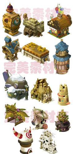 Game art scene material resources to Q version of the cartoon series full of elements [DOFUS] - Taobao Game Design, Bg Design, Prop Design, Environment Concept Art, Environment Design, Game Environment, Cartoon Building, 2d Game Art, 2d Art