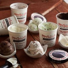California Collection by McConnell's Fine Ice Creams: Golden State Vanilla, Dutchman's Chocolate, Mint Chip, Chocolate-covered Strawberries, Island Coconut, Dark Chocolate Paso Brittle. | Dean & Deluca