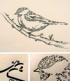 """Made from vintage Letraset type on paper. """"Here's a little alphabet bird that i made from rub-off letraset letters. it's a black capped chickadee. Letter Art, Letters, Alphabet, Pen Illustration, Simple Line Drawings, Vintage Fonts, Graphic Design Typography, Bird Art, Art Pictures"""