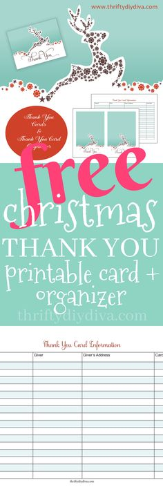 FREE Christmas Thank You Card Printable and Organizer - Don't spend a small fortune on Christmas Thank You cards – print this FREE Christmas Thank You Card Printable and Organizer! Isn't it the cutest? You can even print it on glossy cardstock