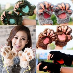 Cute Animal Paw Gloves Fingerless Mittens Fluffy Warm Bear Lion Plush Costume