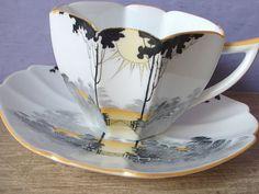 Antique art deco tea cup set, vintage 1920's Shelley tea cup, English tea set, orange and black china tea cup