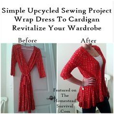 The Homestead Survival | Wrap Dress to a Cardigan    Simple Refashion Sewing Project | http://thehomesteadsurvival.com