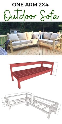 White Patio Furniture, Outdoor Furniture Plans, Diy Garden Furniture, Garden Sofa, Diy Furniture Projects, Outdoor Sofa, Diy Outdoor Table, Outdoor Spaces, Outdoor Living