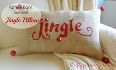 Thrifty Parsonage Living: POTTERY BARN JINGLE PILLOW KNOCK OFF