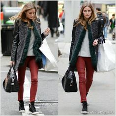 Olivia Palermo sneakers + red leather pants