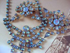 Blue Aurora Borealis Rhinestone Atomic Necklace Earrings