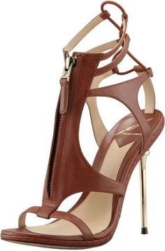 B Brian Atwood Merritta Zip-Front Sandal, Brown, gold stiletto heel Dream Shoes, Crazy Shoes, Me Too Shoes, Hot Shoes, Shoes Heels, Heeled Sandals, Sandal Heels, Louboutin Shoes, Strappy Heels