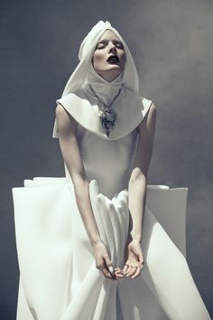 Wearable Art - structured dress with strong sculptural lines & 3D shapes - innocence & strength; bold simplicity