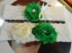 U PICK COLOR - Wedding Garter, Bridal Garter, Garter. Garter Set, Green - Ivory Garter, Lace Garter, Emerald Shabby Chic Pearl Garter