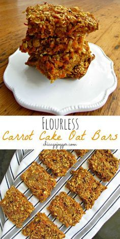 Flourless Carrot Cake Oat Bars - a clean eating breakfast or snack that tastes exactly like carrot cake!   chicagojogger.com