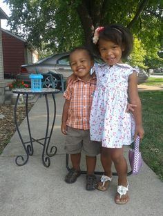 My gorgeous niece and nephew ready for church with their Grandma.