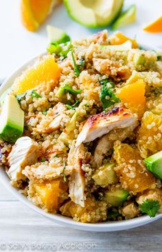 Citrus Chicken Quinoa Salad - easy, flavorful, healthy, and protein-packed! @sallybakeblog