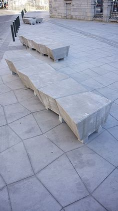 Benches in the Place de la Fontaine Chaude, Dax, France by OKRA. Click image for full profile and visit the slowottawa.ca boards >> https://www.pinterest.com/slowottawa/