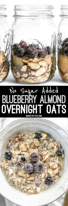 These Blueberry Almond Overnight Oats are naturally sweet without any added sugar, and provide plenty of flavor and texture to keep you happy and full all morning. (Vegan Sweets No Sugar) Clean Eating Breakfast, What's For Breakfast, Breakfast Recipes, Breakfast Healthy, Breakfast Muffins, Morning Breakfast, Breakfast Dishes, Recipes Dinner, Overnight Oats