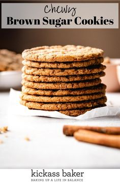 Not only are these Brown Sugar Cookies loaded with flavor, I also added in cinnamon and cardamom making for a super delicious, subtly spiced bite that's sure to please tastebuds near and far. | kickassbaker.com #brownsugar #sugarcookies #cinnamon #cardamom #softcookies #sugarcoated #kickassbaker #easyrecipes #chewycookies #foodphotography #foodstyling Healthy Cookie Recipes, Healthy Cookies, Sweets Recipes, Fall Recipes, Baking Recipes, Desserts, Brown Sugar Cookies, Chocolate Chip Cookies, Fall Baking