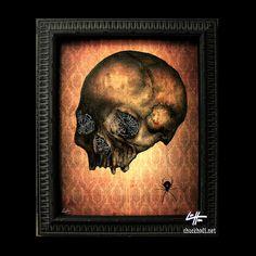 The Widow  Original Drawing  Skull Skeleton Dark Art by chuckhodi