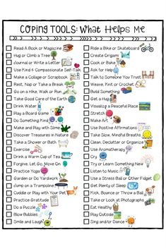 Field Day Games For Kids Discover KIDS COPING SKILLS! Stress Management SEL Distance Learning Digital Lesson Coping Skills for Kids Checklist. A fun school counseling worksheet to help young people build coping tools. Counseling Worksheets, Counseling Activities, Sorting Activities, Cbt Worksheets, Group Counseling, Counseling Quotes, Self Esteem Worksheets, Icebreaker Activities, Coping Skills