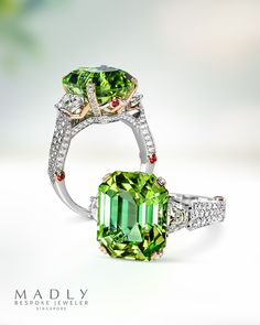A sensational neon mint green tourmaline brilliantly paired with bright red spinels and LOTS of sparkling white diamonds. #madlygems #cocktailring #statementring