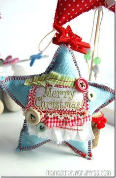 Kerstster van stof en knoopjes