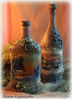 "Photo from album ""Ручная работа on Yandex. Empty Wine Bottles, Recycled Bottles, Bottles And Jars, Glass Bottles, Diy Bottle, Wine Bottle Crafts, Bottle Art, Inspiration Artistique, Christmas Decoupage"
