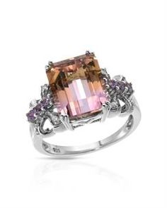 Brand New Ring With 6.79ctw Precious Stones - Genuine Amethysts, Ametrine and  Diamonds  White Gold - Certificate Available.